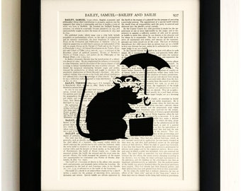 ART PRINT on old antique book page - Banksy, Rat with Umbrella, Vintage Upcycled Wall Art Print, Encyclopaedia Dictionary Page