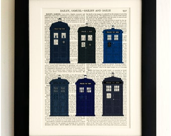 ART PRINT on old antique book page - The Tardis Old & New, Doctor Who, Vintage Upcycled Wall Art Print, Encyclopaedia Dictionary Page, Gift!