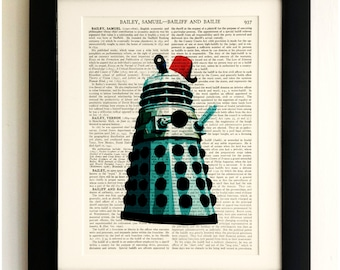 ART PRINT on old antique book page - Dalek with Fez, Doctor Who, Vintage Upcycled Wall Art Print, Encyclopaedia Dictionary Page, Fab Gift!