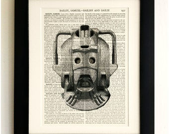 ART PRINT on old antique book page - Retro Cyberman, Doctor Who, Vintage Upcycled Wall Art Print, Encyclopaedia Dictionary Page, Fab Gift!
