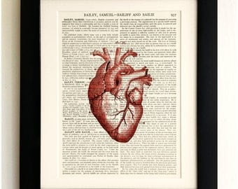 ART PRINT on old antique book page - Anatomical Human Heart, Vintage Upcycled Wall Art Print, Encyclopaedia Dictionary Page, Fab Gift!