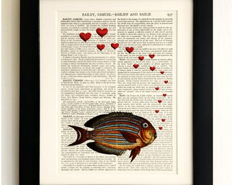 ART PRINT on old antique book page - Fish, Blowing Hearts, Love, Vintage Upcycled Wall Art Print Encyclopaedia Dictionary Page