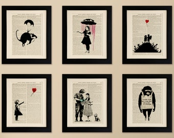 Set of 6 FRAMED Art Prints on Old Antique Book Page - Banksy, Vintage Upcycled Wall Art Print Encyclopaedia Dictionary Page, Fab Gift!