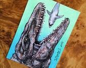 Jurassic World Mosasaur Sketch Card