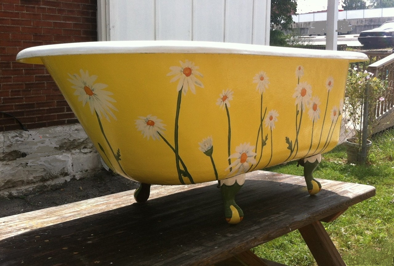 Antique Clawfoot Tub Yellow Daisy Vintage Claw Foot Bathub