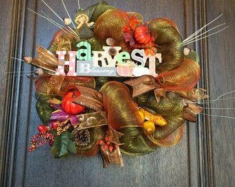 Harvest Blessing Acorn Themed Fall Wreath