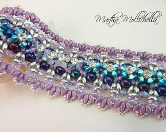 Hand beaded cuff bracelet with Swarovski crystals, pearls and  rhinestones