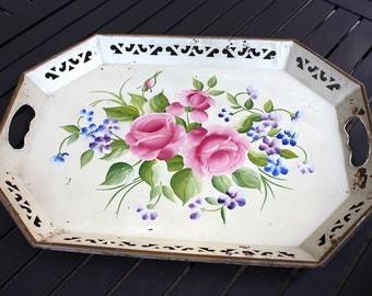 Antique Pilgrim Art Tole Tray No 148, 1940s