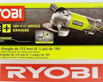"""new ryobi one + 18 volt 4-1/2"""" inch angle grinder kit set 18v p421"""