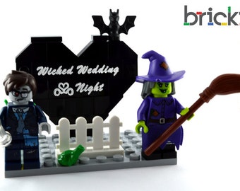 LEGO® wedding cake topper personalised engraved table decoration Wicked Wedding