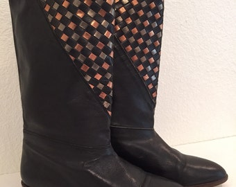 1980's Vintage Women's Boho Style Boots in Size 7M Made in Spain  Retro Mid Calf Boots in Color Black Size 7M in Boho Style