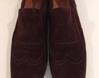1990s Womens Salvatore Ferragamo Vintage Wing Tip Brown Suede Loafers in Size 9.5 Made in Italy Salvatore Ferragamo Leather 90s Ferragamo