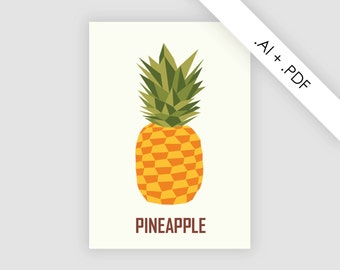 Pineapple poster files, instant download, illustration, decoration, Scandinavian printable, affiche design, PDF and AI illustrator files