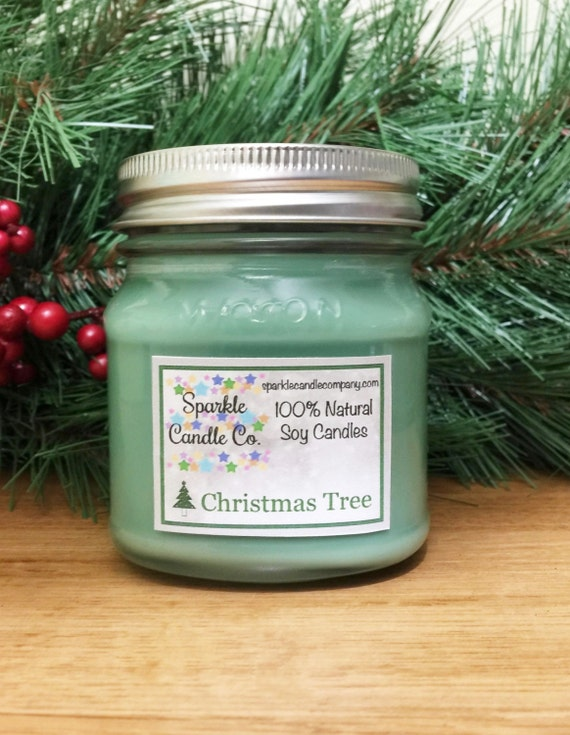 christmas tree soy candle holiday candle 8 oz by sparklecandleco