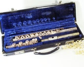 Flute and case, Solid Silver, Gemeinhardt, Elkhart IN, Vintage Musical Instrument