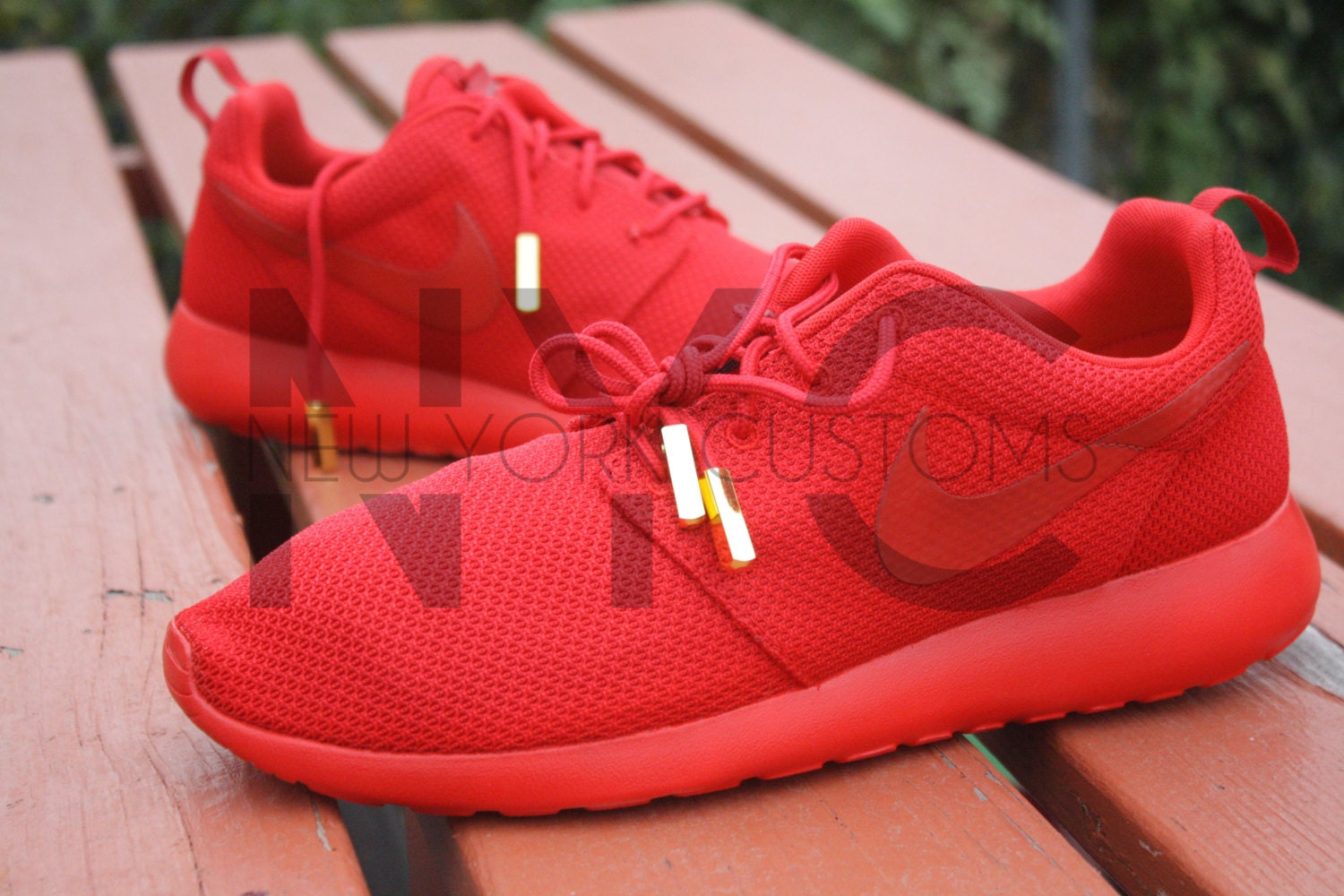 ypsiy Nike Roshe Run One Red October Yeezy w/ Gold Aglets by NYCustoms