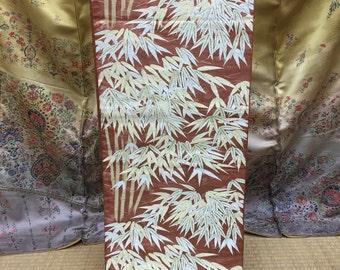 "OBI Fukuro Rokutsu obi "" bamboo leaf  "" Japanese kimono for tea ceremony Nishijin"