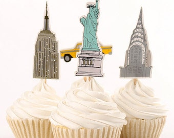READY To SHIP - NYC Themed Cupcake Toppers, Big Apple, New York City,Picks, Cake Toppers, Cake Topper Pick, Cupcake Picks, Birthday, Baby