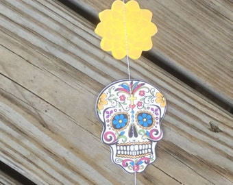 Sugar Skull Garland Streamer for Day of the Dead, Dia de Los Muertos, Halloween party back drop