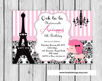 Paris Invitation Birthday, Pink  Eiffel Paris Party Invitation, Paris Birthday, Girl Invitation Any ocassion  Printable