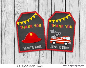 Fire Truck Favor Tags Chalkboard, Fire Truck Gift Favors, Firefighter Birthday Party,Fire TruckFavors Printable Instant Download