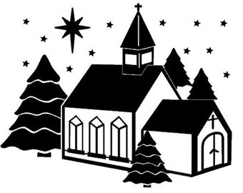 Winter Church Topper......SVG FCM & MTC Digital Files........Commercial Use Allowed