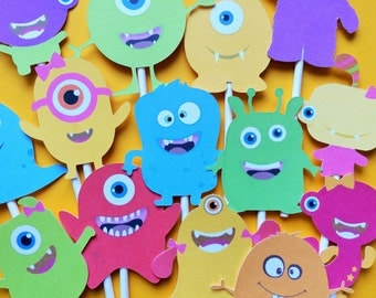 Monster Cupcake Toppers, 14 monster cupcake toppers, monster party toppers, monster cake topper, monsters party supply