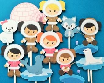 Eskimo girls cupcake toppers, 12 eskimo cupcake toppers, eskimo themed party cupcake toppers, toppers eskimo, winter birthday party toppers