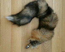"Tail Butt Plug, 23"" CROSS Fox, MATURE, Be UNIQUE! Professionally Sewn Together! Available Detachable or Permanently Attached, 3 Plug Size"