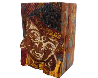 Box secret painted wood - length 12 cm
