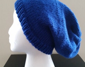 The Clement....Oversized Slouchy Knit Beanie Hat in Royal Blue
