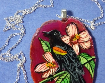 Red winged blackbird hand painted on agate