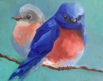 PRINT of original 16 x 16 oil painting of bluebirds