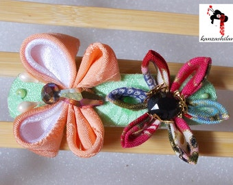 PIN kanzashi Japanese fabric flower with butterfly