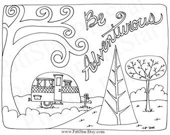 free happy camper coloring pages   Instant Download Happy Glamper Winnebago Motorhome
