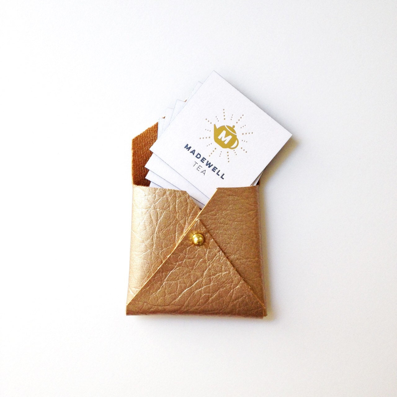 vegan leather square envelope wallet gifts for her square business card case gold - Square Business Card Holder