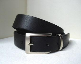"Mens Dress Belt in Black -  1""1/4 - Handmade in UK - Matt Silver Buckle - Black Suit Belt - Mens Belt - Wedding Belt - Wedding Belt Men"