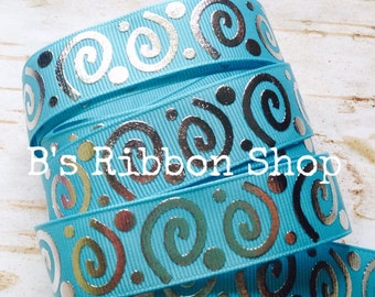 "7/8"" Turquoise with Silver Foil Wonky Swirls US Designer grosgrain ribbon"