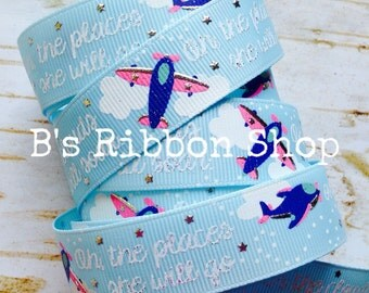 """7/8"""" Oh the Places She Will Go Ocean Blue US Designer 1 yard grosgrain ribbon"""