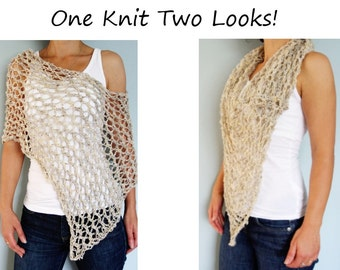 Knitting Pattern - Hampton Lace Poncho/ Chunky Rustic Scarf/ Asymmetrical Loose Knit Summer Wrap