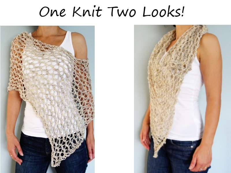 Knitting Pattern For Lace Poncho : Knitting Pattern Hampton Lace Poncho/ Chunky Rustic Scarf/