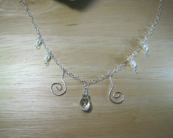 Silver, quartz and pearl necklace