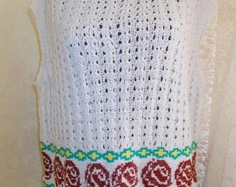 NEW!!Fishnet vest, knitting, hand embroidery, vest, tank top.