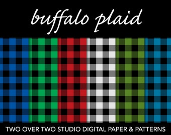 "Buffalo Plaid Digital Paper: ""Buffalo Check"" in Red, Green, and Blue for Camping or Winter Rustic Backgrounds and Scrapbooks"
