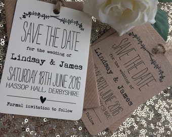 12 x Vintage/Rustic 'Lindsay' Wedding Save the Date tags & twine with envelopes
