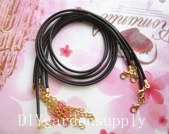10pcs 20 inch 2mm adjustable brown real leather cord necklace with lobster clasps plus 2 inch extender chains