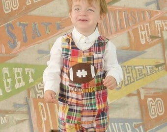 Madras Plaid Football Longall Jon,Boys Football Jon,Boys Fall Jon,Applique Embroidered Jon Jon Longall Shortall