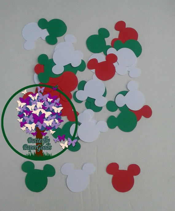 Green Red And White Mickey Inspired Confetti Christmas