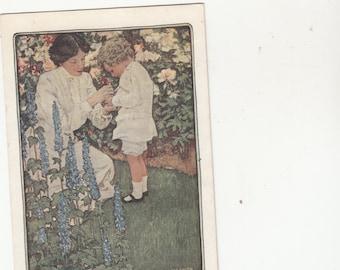 "Heartwarming Jessie Wilcox Smith ""In The Garden"" Mother And Child"" Dressed In White"
