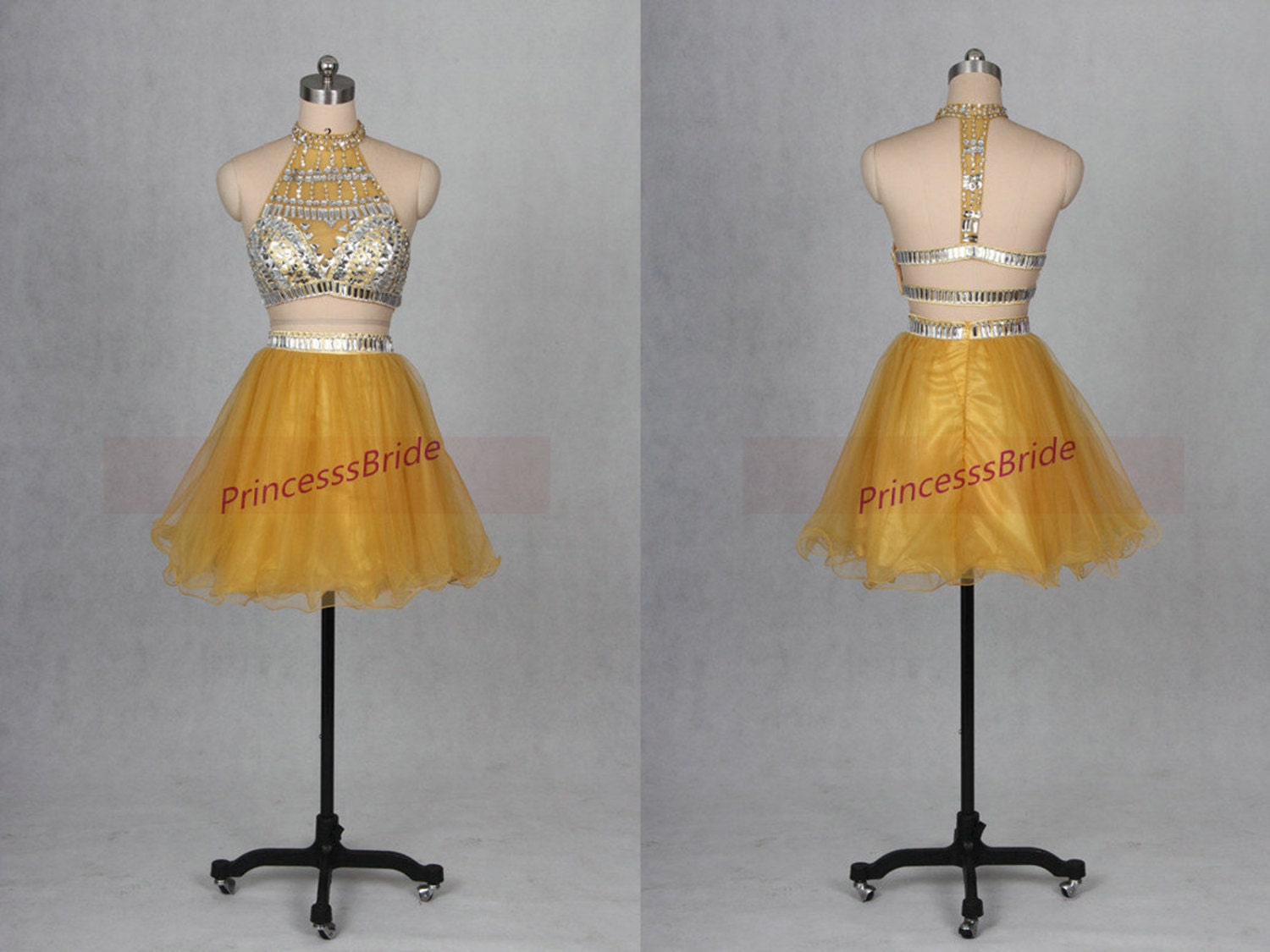 Yellow Tulle Prom Dresses 79